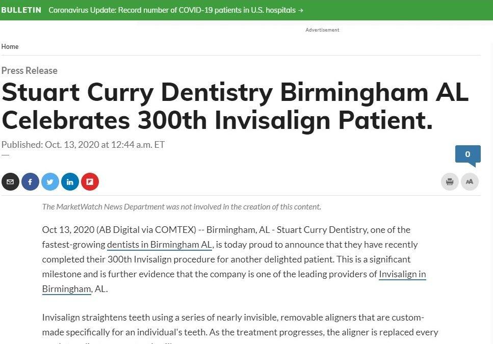 Stuart Curry Dentistry Birmingham AL Celebrates 300th Invisalign Patient